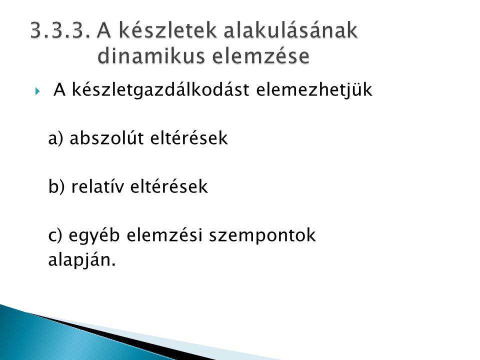 3.3.3. A készletek alakulásának dinamikus elemzése