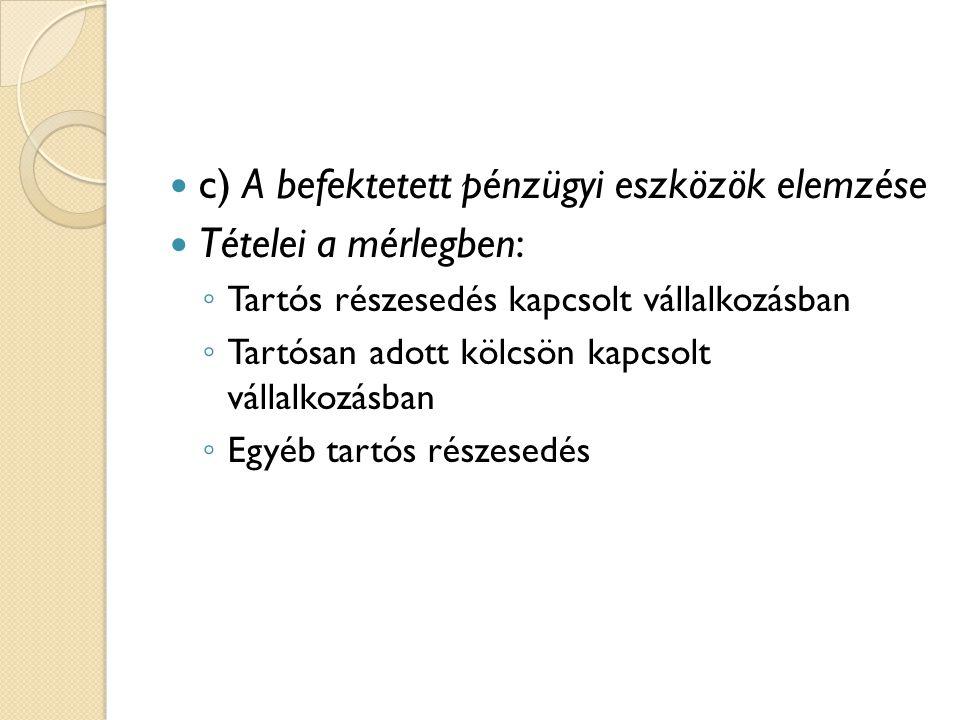 c) A befektetett pénzügyi eszközök elemzése Tételei a mérlegben: