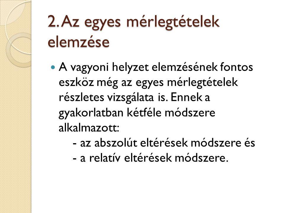2. Az egyes mérlegtételek elemzése