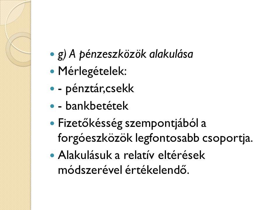 g) A pénzeszközök alakulása