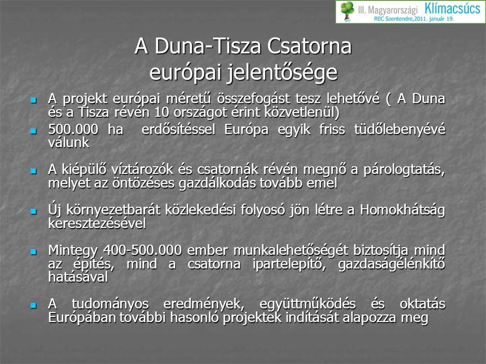 A Duna-Tisza Csatorna európai jelentősége