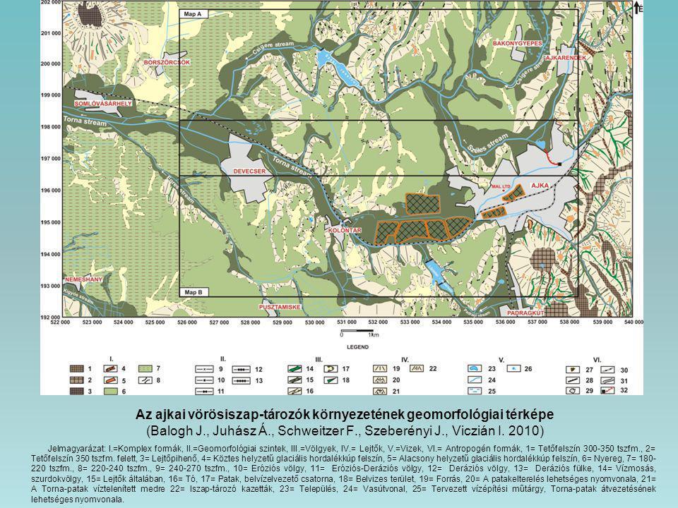 Az ajkai vörösiszap-tározók környezetének geomorfológiai térképe (Balogh J., Juhász Á., Schweitzer F., Szeberényi J., Viczián I. 2010)