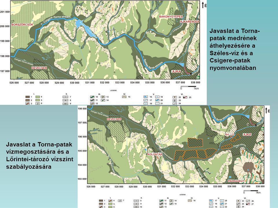Javaslat a Torna-patak medrének áthelyezésére a Széles-víz és a Csigere-patak nyomvonalában