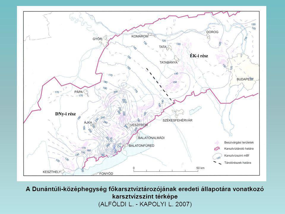 A Dunántúli-középhegység főkarsztvíztározójának eredeti állapotára vonatkozó karsztvízszint térképe (ALFÖLDI L.