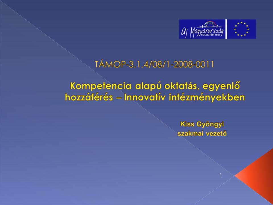 TÁMOP-3.1.4/08/1-2008-0011 Kompetencia alapú oktatás, egyenlő hozzáférés – Innovatív intézményekben Kiss Gyöngyi szakmai vezető