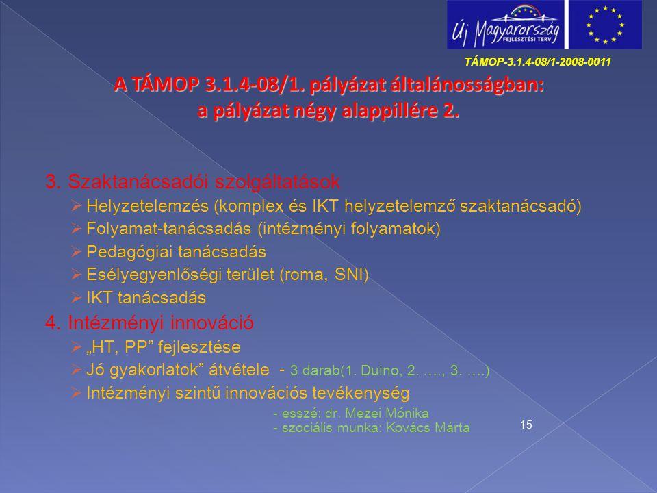 TÁMOP-3.1.4-08/1-2008-0011 A TÁMOP 3.1.4-08/1. pályázat általánosságban: a pályázat négy alappillére 2.
