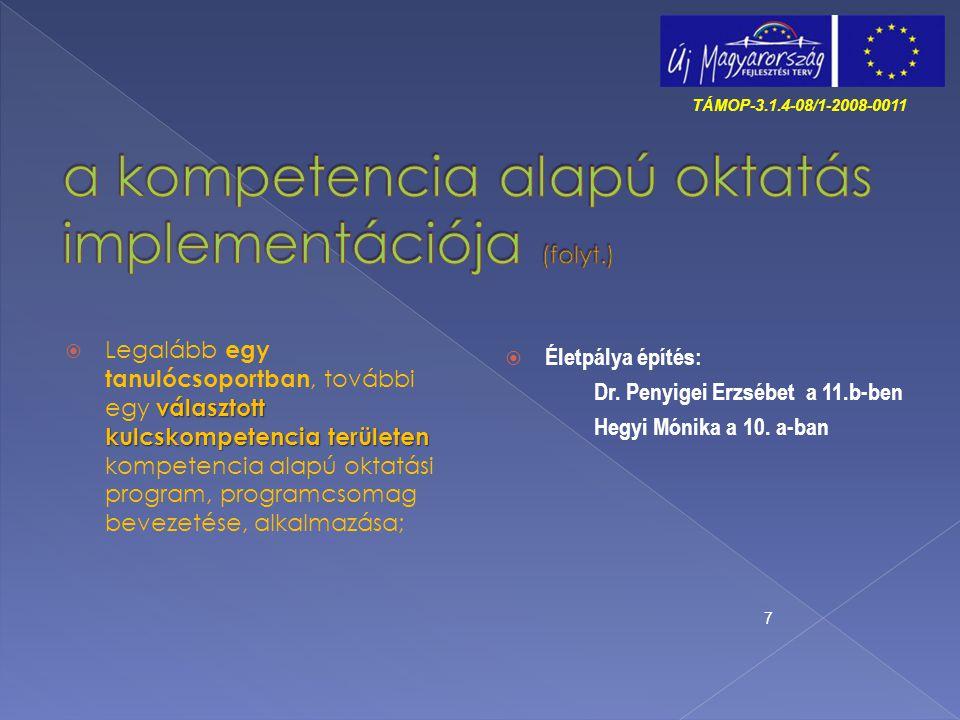 a kompetencia alapú oktatás implementációja (folyt.)