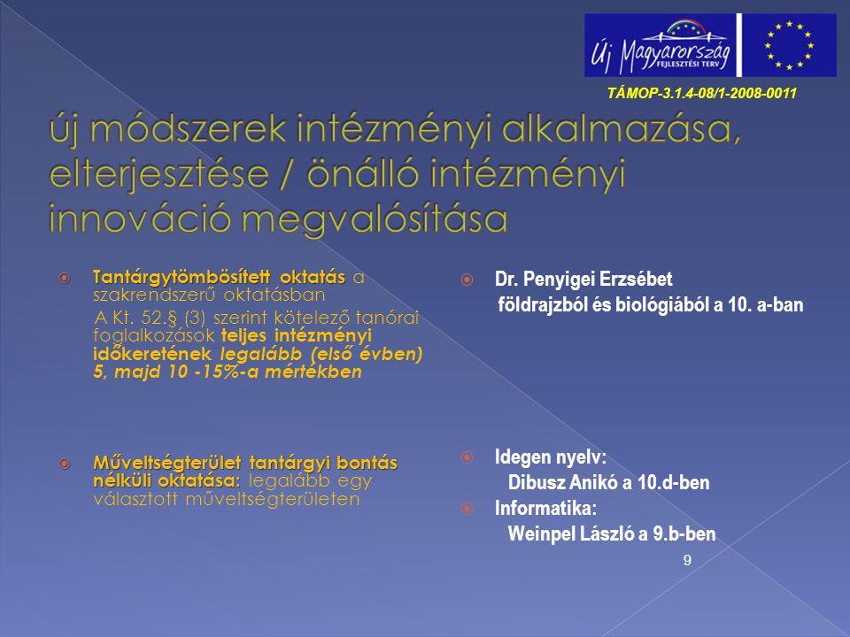 TÁMOP-3.1.4-08/1-2008-0011 új módszerek intézményi alkalmazása, elterjesztése / önálló intézményi innováció megvalósítása.