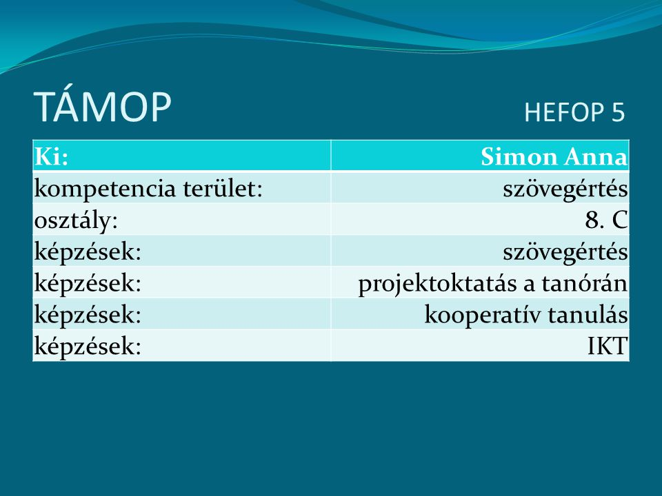 TÁMOP HEFOP 5 Ki: Simon Anna kompetencia terület: szövegértés osztály: