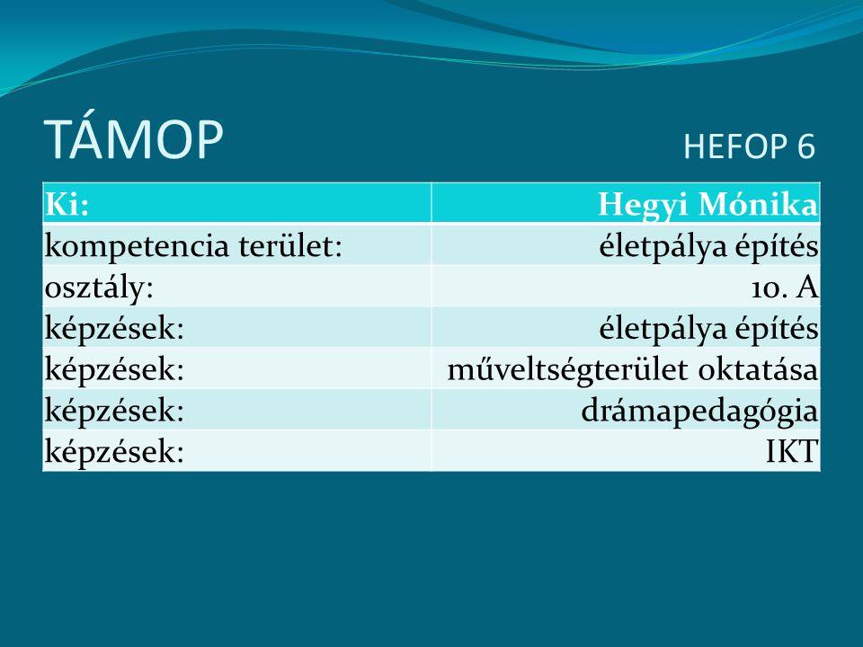 TÁMOP HEFOP 6 Ki: Hegyi Mónika kompetencia terület: életpálya építés