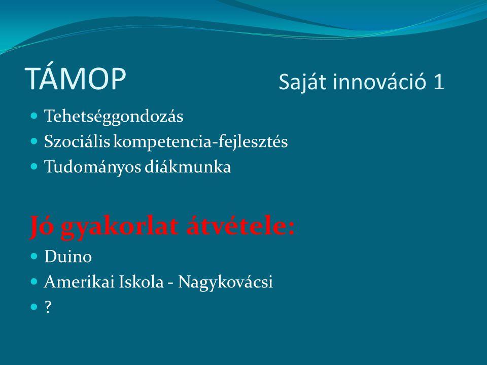 TÁMOP Saját innováció 1 Jó gyakorlat átvétele: Tehetséggondozás
