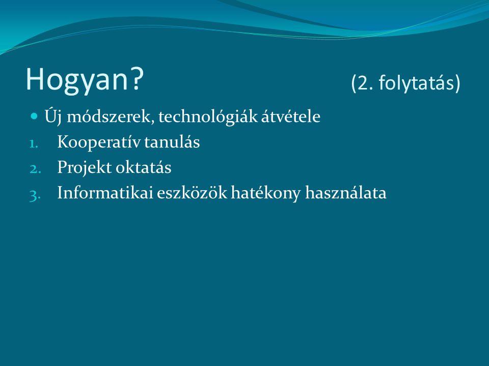 Hogyan (2. folytatás) Új módszerek, technológiák átvétele