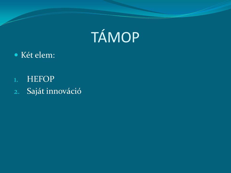 TÁMOP Két elem: HEFOP Saját innováció