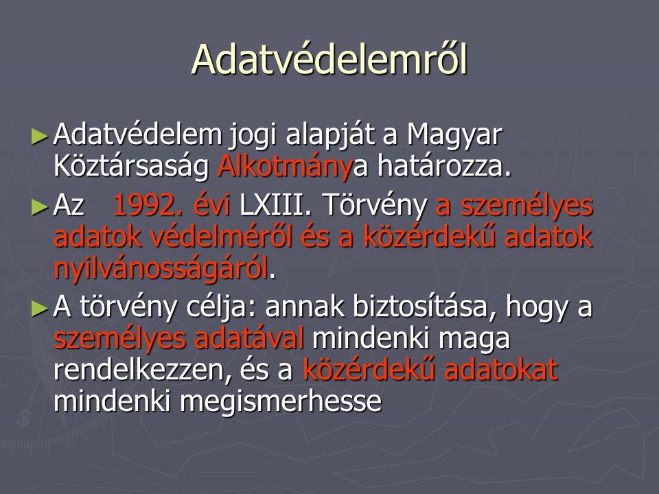 Adatvédelemről Adatvédelem jogi alapját a Magyar Köztársaság Alkotmánya határozza.