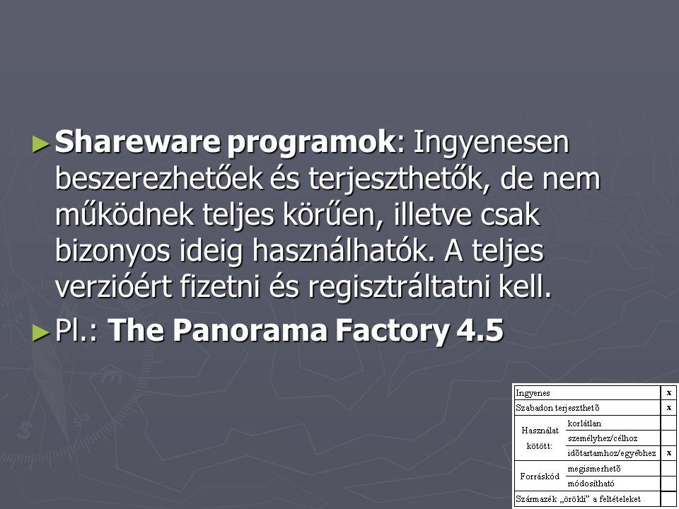 Shareware programok: Ingyenesen beszerezhetőek és terjeszthetők, de nem működnek teljes körűen, illetve csak bizonyos ideig használhatók. A teljes verzióért fizetni és regisztráltatni kell.