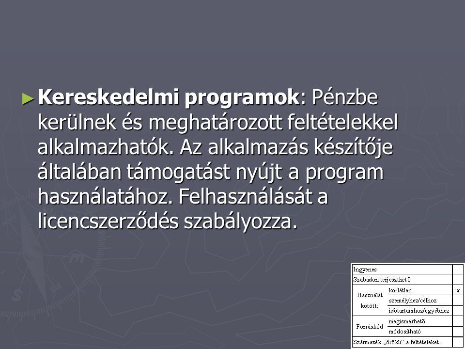 Kereskedelmi programok: Pénzbe kerülnek és meghatározott feltételekkel alkalmazhatók.
