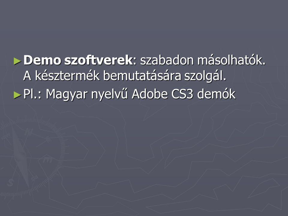 Demo szoftverek: szabadon másolhatók. A késztermék bemutatására szolgál.