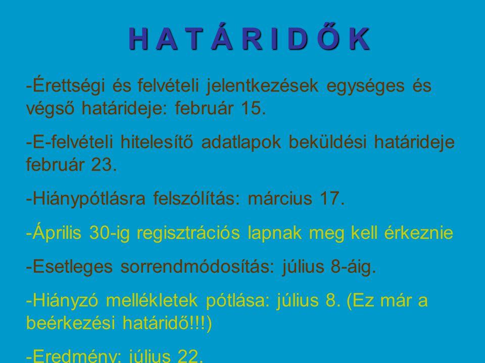 H A T Á R I D Ő K Érettségi és felvételi jelentkezések egységes és végső határideje: február 15.