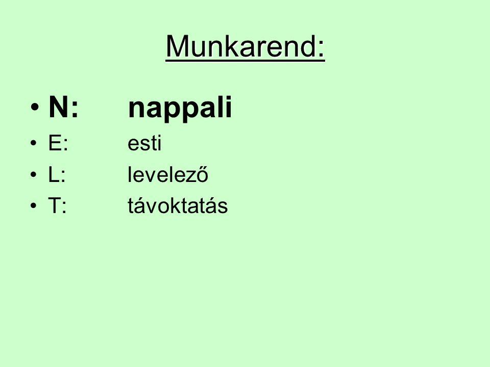 Munkarend: N: nappali E: esti L: levelező T: távoktatás
