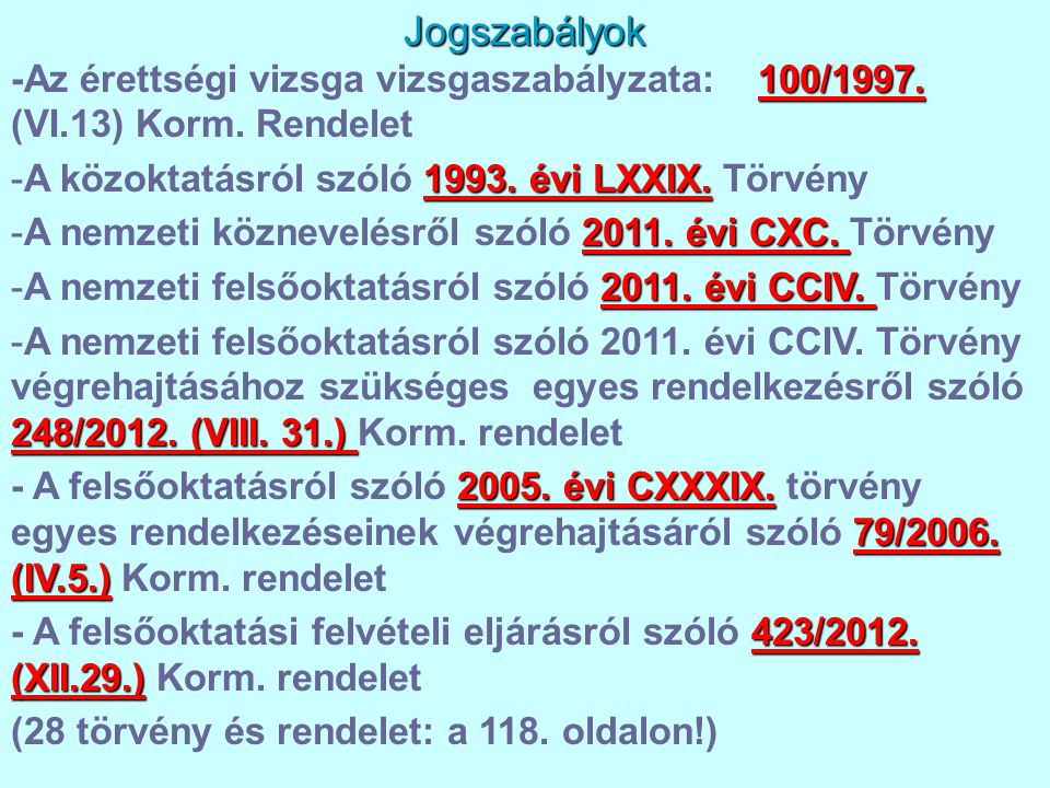 Jogszabályok -Az érettségi vizsga vizsgaszabályzata: 100/1997. (VI.13) Korm. Rendelet. A közoktatásról szóló 1993. évi LXXIX. Törvény.