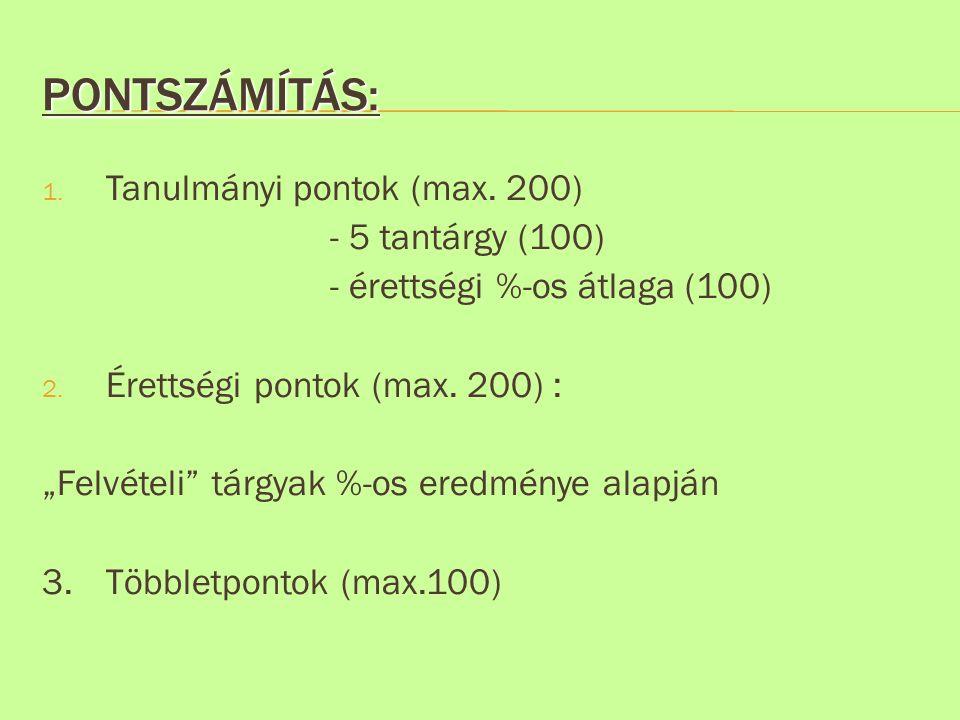 Pontszámítás: Tanulmányi pontok (max. 200) - 5 tantárgy (100)