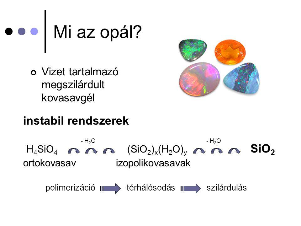Mi az opál instabil rendszerek H4SiO4 (SiO2)x(H2O)y SiO2