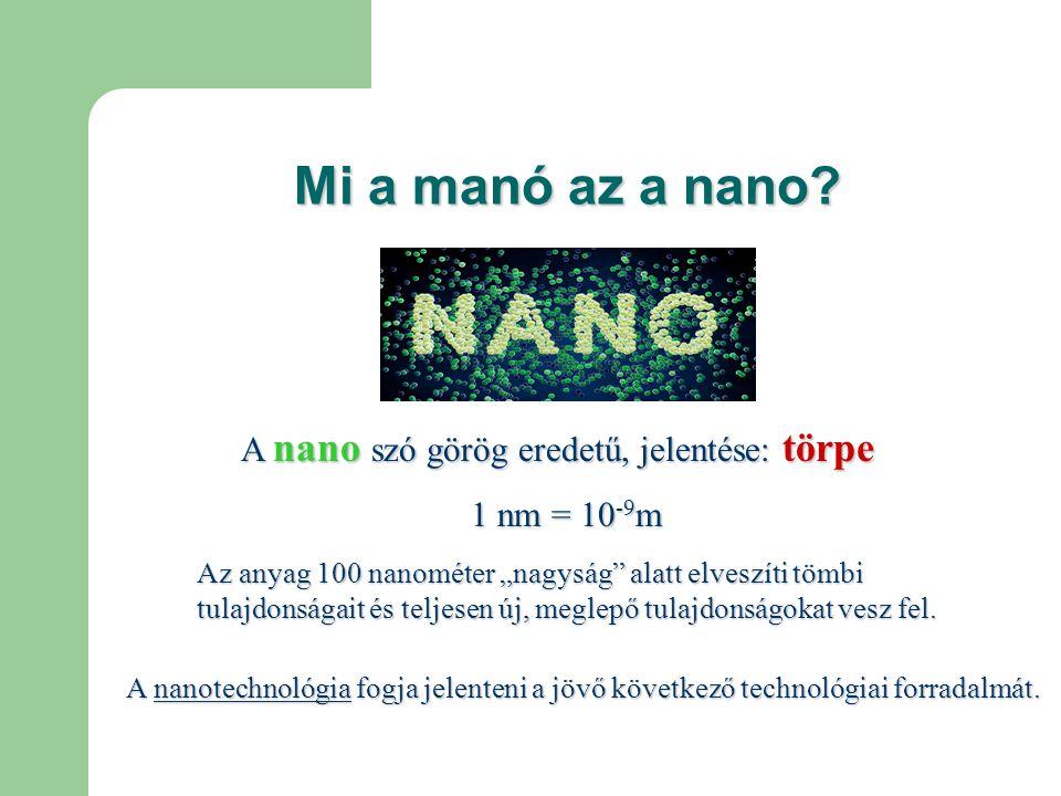 Mi a manó az a nano A nano szó görög eredetű, jelentése: törpe