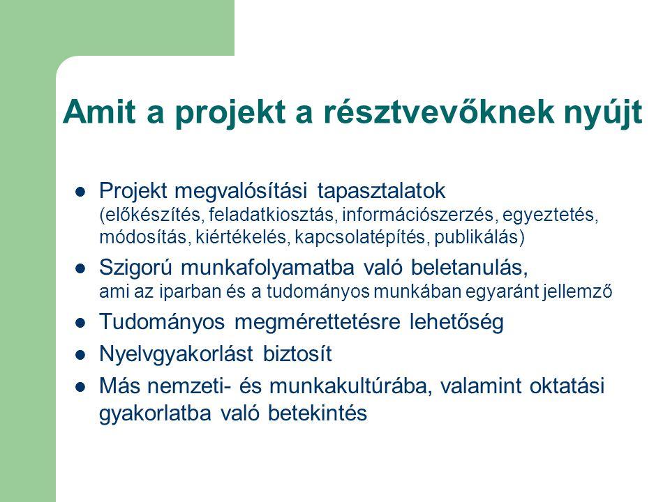 Amit a projekt a résztvevőknek nyújt