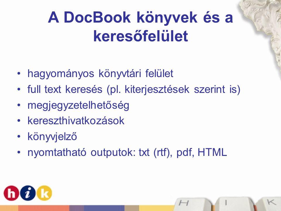A DocBook könyvek és a keresőfelület