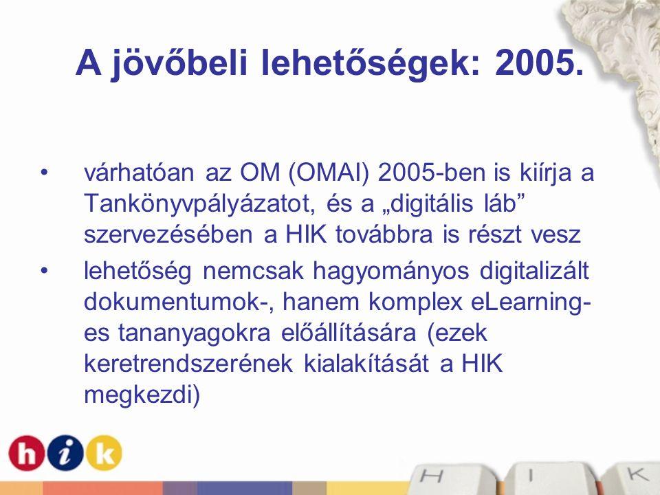 A jövőbeli lehetőségek: 2005.
