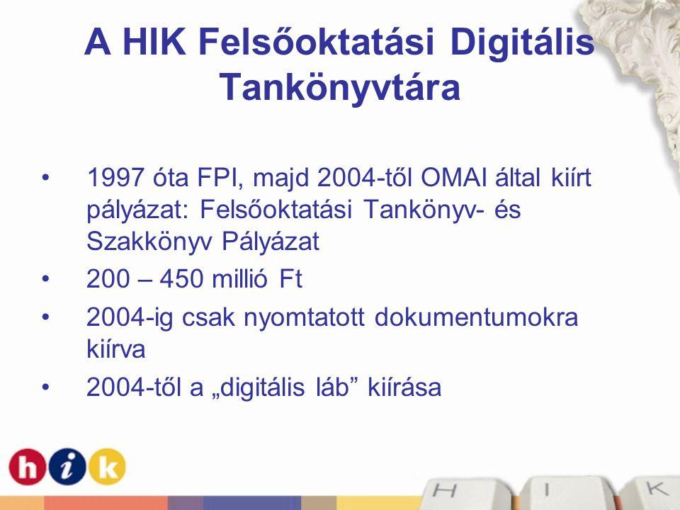 A HIK Felsőoktatási Digitális Tankönyvtára
