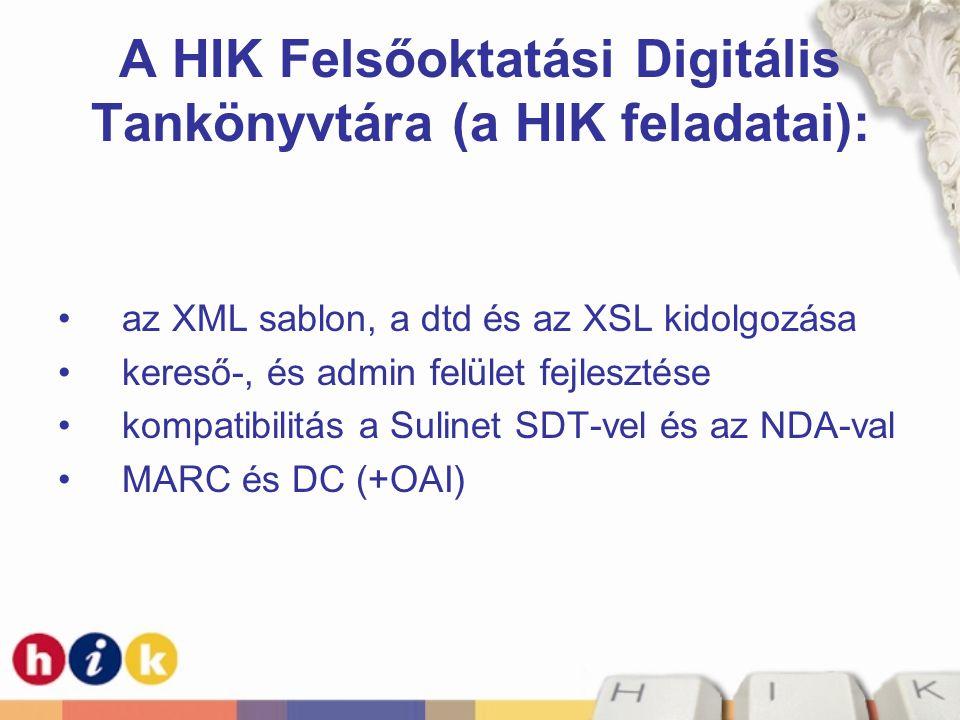 A HIK Felsőoktatási Digitális Tankönyvtára (a HIK feladatai):