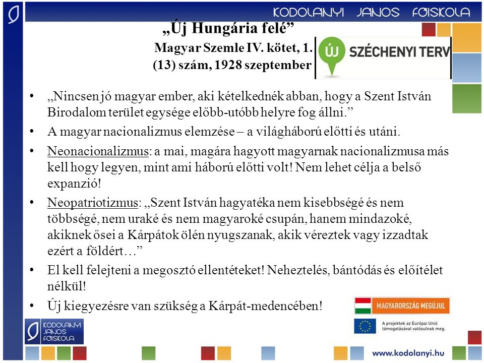 """""""Új Hungária felé . Magyar Szemle IV. kötet, 1"""