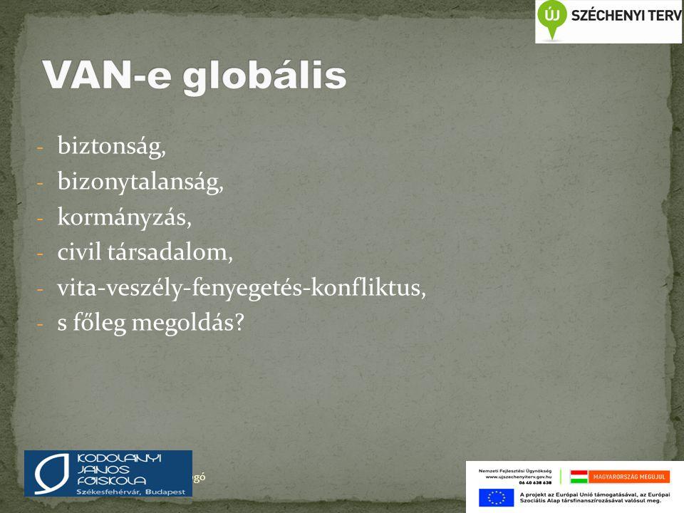 VAN-e globális biztonság, bizonytalanság, kormányzás,