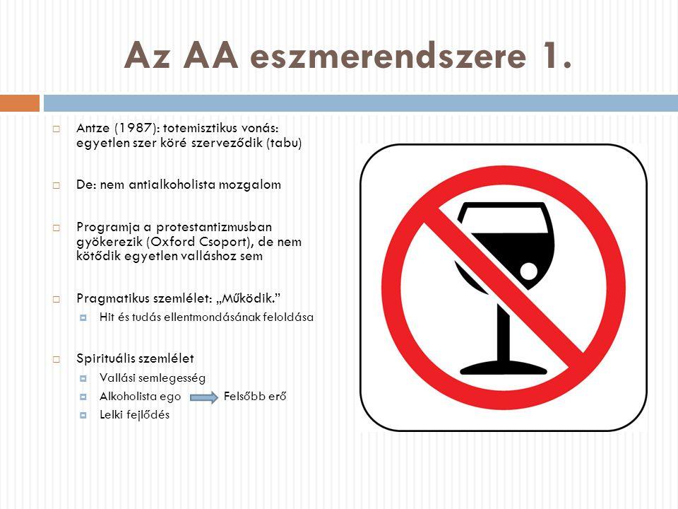 Az AA eszmerendszere 1. Antze (1987): totemisztikus vonás: egyetlen szer köré szerveződik (tabu) De: nem antialkoholista mozgalom.