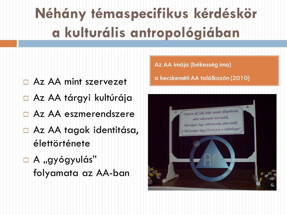 Néhány témaspecifikus kérdéskör a kulturális antropológiában