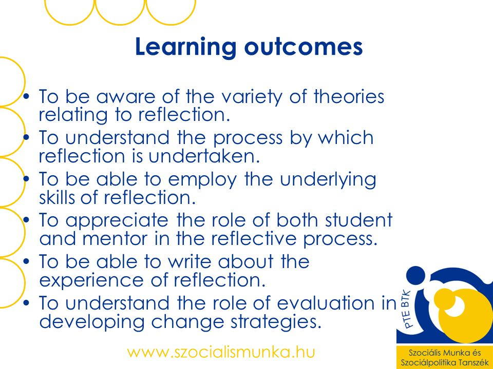 Learning outcomes To be aware of the variety of theories relating to reflection. To understand the process by which reflection is undertaken.