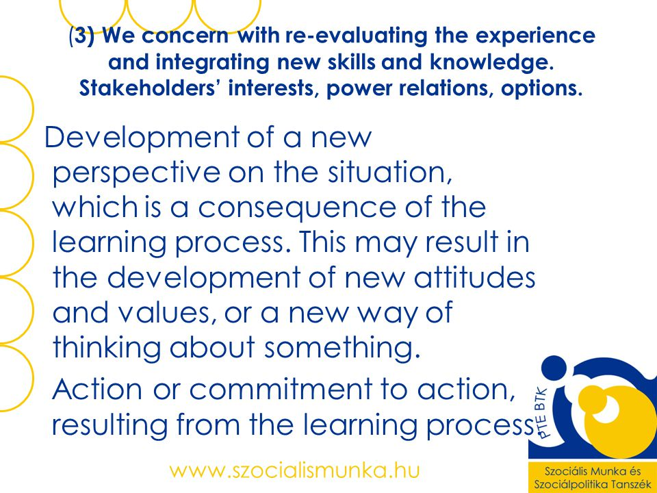 (3) We concern with re-evaluating the experience and integrating new skills and knowledge. Stakeholders' interests, power relations, options.