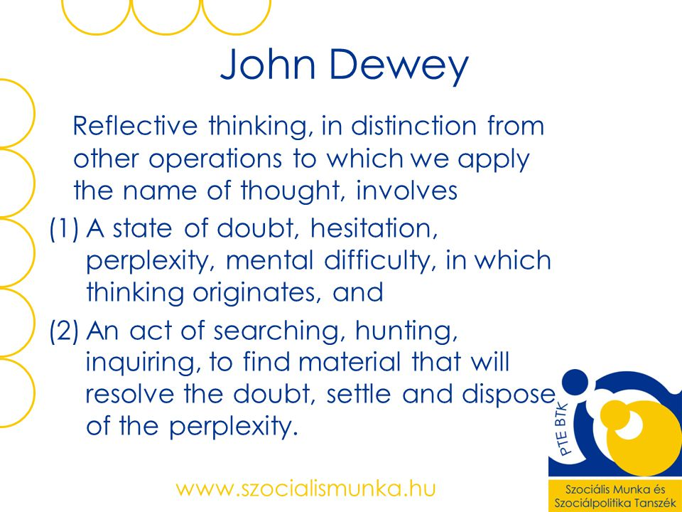 John Dewey Reflective thinking, in distinction from other operations to which we apply the name of thought, involves.