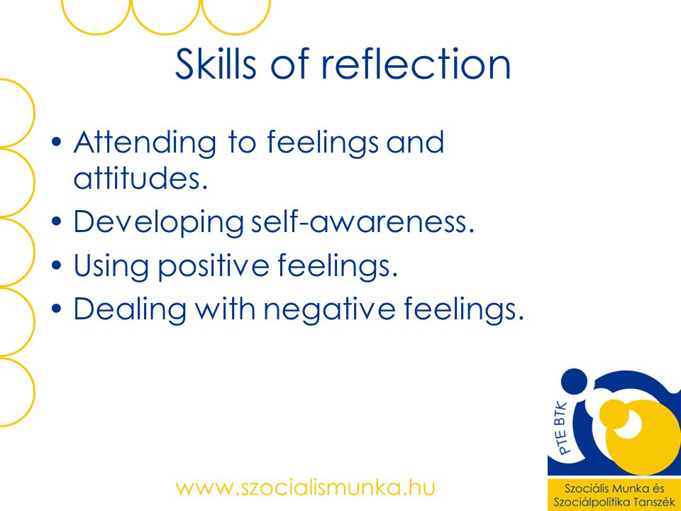 Skills of reflection Attending to feelings and attitudes.