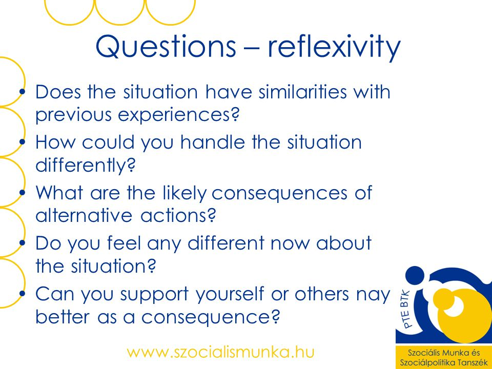 Questions – reflexivity