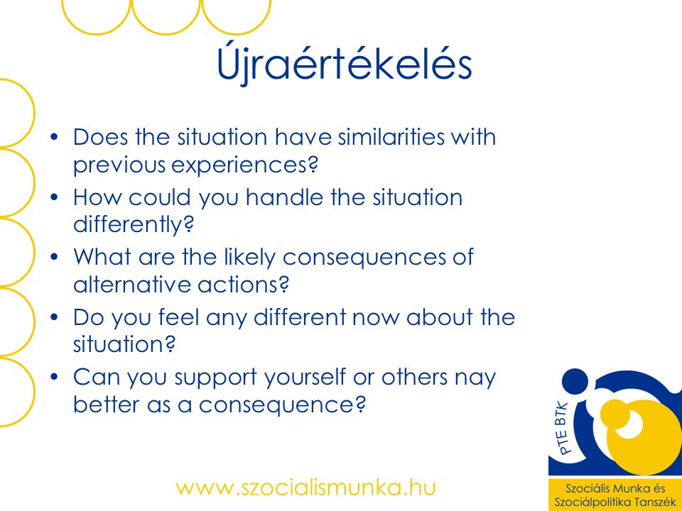 Újraértékelés Does the situation have similarities with previous experiences How could you handle the situation differently