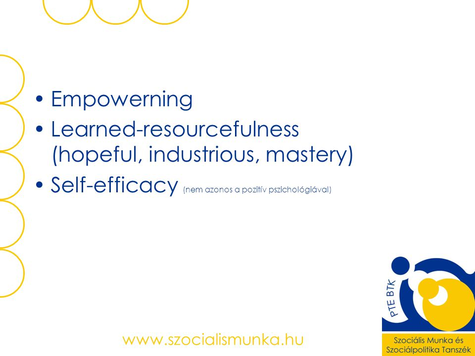 Learned-resourcefulness (hopeful, industrious, mastery)