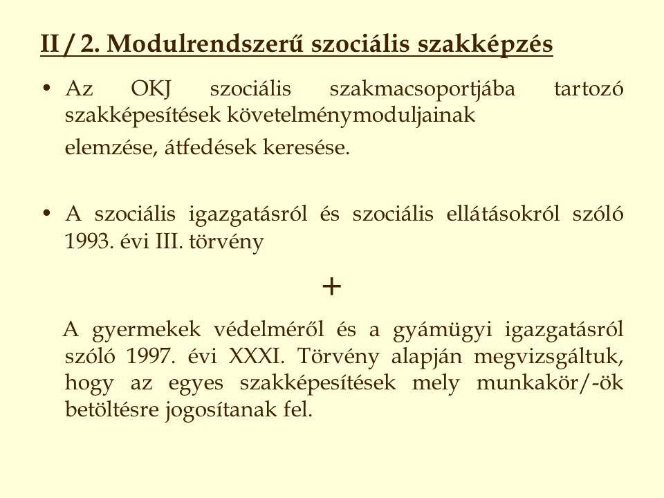 II / 2. Modulrendszerű szociális szakképzés