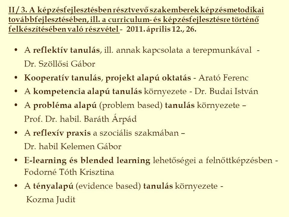 A reflektív tanulás, ill. annak kapcsolata a terepmunkával -