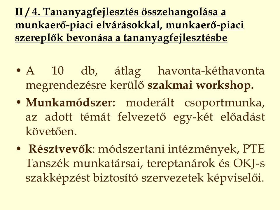 II / 4. Tananyagfejlesztés összehangolása a munkaerő-piaci elvárásokkal, munkaerő-piaci szereplők bevonása a tananyagfejlesztésbe