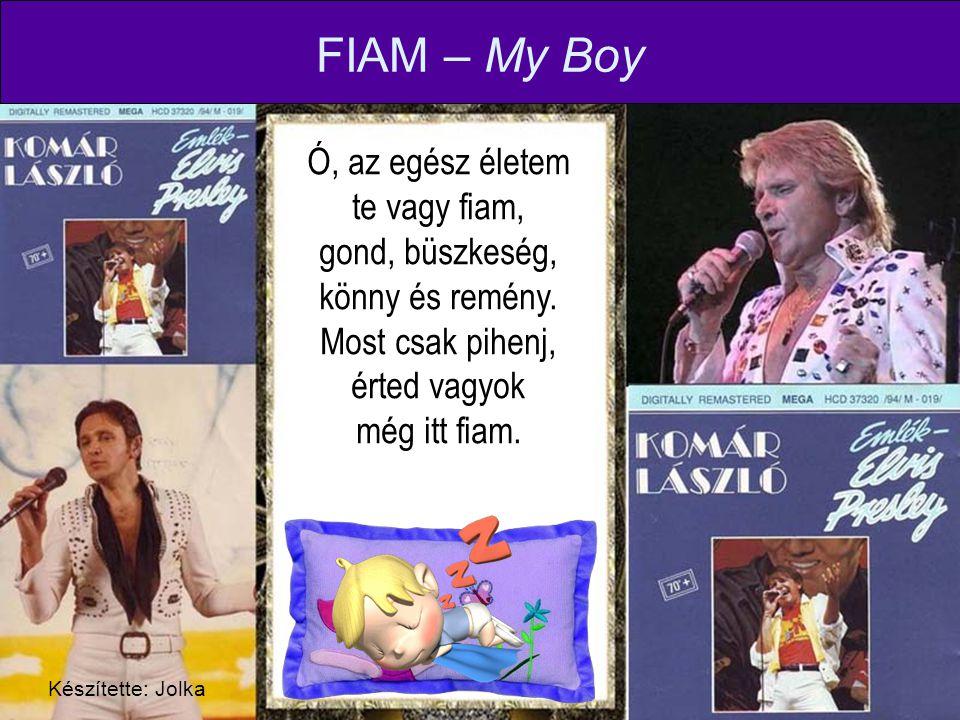 FIAM – My Boy Ó, az egész életem te vagy fiam, gond, büszkeség, könny és remény. Most csak pihenj, érted vagyok még itt fiam.