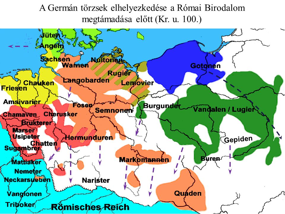 A Germán törzsek elhelyezkedése a Római Birodalom