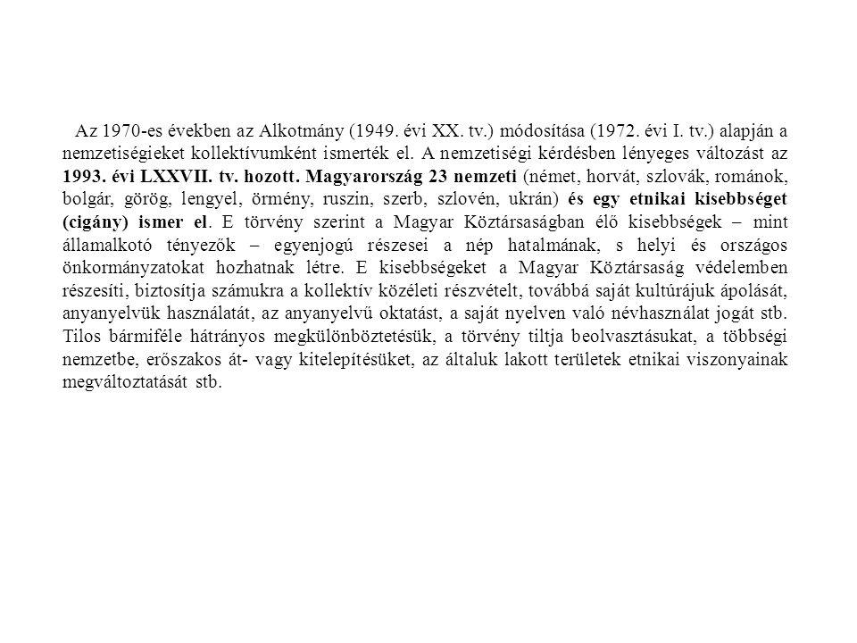 Az 1970-es években az Alkotmány (1949. évi XX. tv. ) módosítása (1972