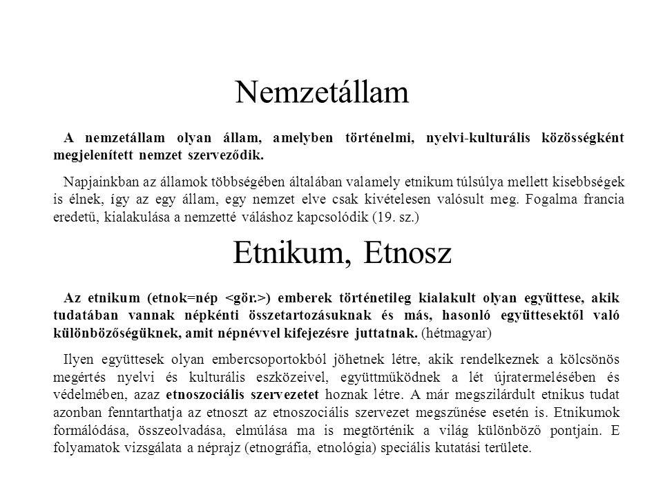 Nemzetállam Etnikum, Etnosz